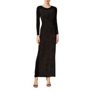 Calvin Klein Black Embellished Crystal Formal Gown